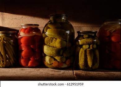 Canned vegetables in the cellar.