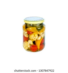 Canned vegetables in a glass jar. Isolated on white background. One bank.