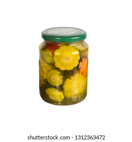 Canned vegetables in a glass jar. Isolated on white background. One bank. squash