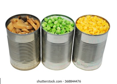 Canned vegetables on a white background