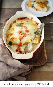 cannelloni in baking dish, italian food