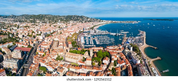 Cannes aerial panoramic view. Cannes is a city located on the French Riviera or Cote d'Azur in France.