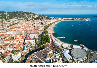 Cannes beach aerial panoramic view. Cannes is a city located on the French Riviera or Cote d'Azur in France.