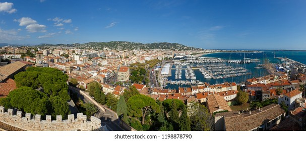 Cannes, Cote d'Azur, France. Panorama of Cannes and the port from the tower Suquet.