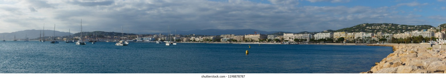 Cannes, Cote d'Azur, South France. Panorama of La Croisette in Cannes.
