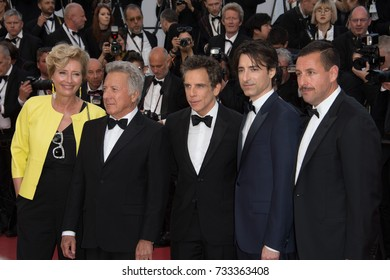 "CANNES, FR - May 21, 2017: Emma Thompson, Ben Stiller, Dustin Hoffman, Noah Baumbach & Adam Sandler at the premiere for ""The Meyerowitz Stories"" at the 70th Festival de Cannes"