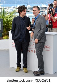 """CANNES, FR - May 21, 2017: Louis Garrel & Michel Hazanavicius at the photocall for """"The Formidable"""" (Le Redoutable) at the 70th Festival de Cannes"""
