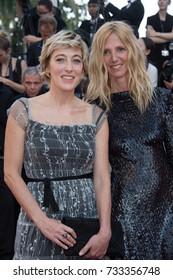 CANNES, FR - May 23, 2017: Valeria Bruni Tedeschi & Sandrine Kiberlain at the 70th Anniversary Gala for the Festival de Cannes