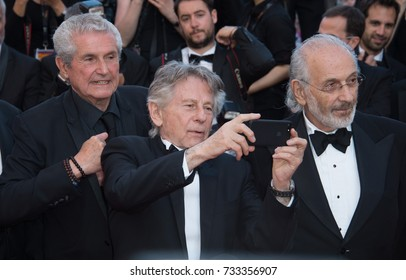 CANNES, FR - May 23, 2017: Claude Lelouch, Roman Polanski & Jerry Schatzberg at the 70th Anniversary Gala for the Festival de Cannes