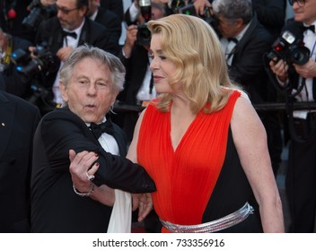 CANNES, FR - May 23, 2017: Catherine Deneuve & Roman Polanski at the 70th Anniversary Gala for the Festival de Cannes