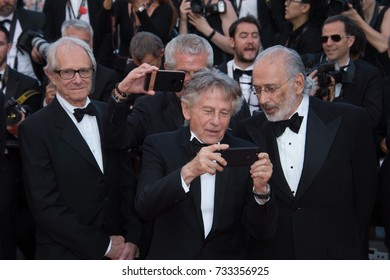 CANNES, FR - May 23, 2017: Ken Loach, Claude Lelouch, Roman Polanski & Jerry Schatzberg at the 70th Anniversary Gala for the Festival de Cannes