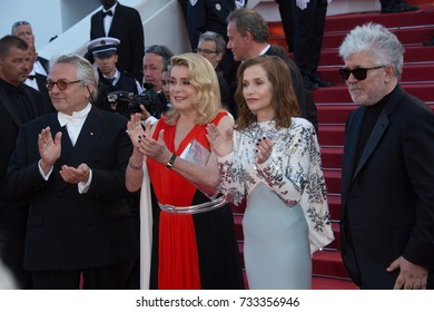 CANNES, FR - May 23, 2017: George Miller, Catherine Deneuve, Isabelle Huppert & Pedro Almodovar at the 70th Anniversary Gala for the Festival de Cannes