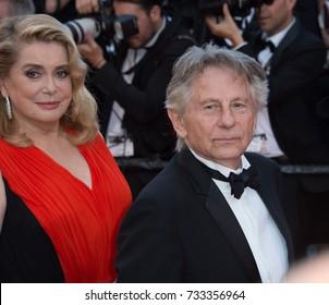 CANNES, FR - May 23, 2017: Catherine Deneuve & Roman Polanski at the 70th Anniversary Gala for the Festival de Cannes