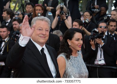 CANNES, FR - May 23, 2017: Former US Vice-President Al Gore & Elizabeth Keadle at the 70th Anniversary Gala for the Festival de Cannes