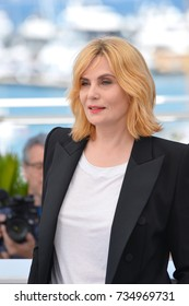 """CANNES, FR - May 27, 2017: Emmanuelle Seigner at the photocall for """"Based on a True Story"""" at the 70th Festival de Cannes"""