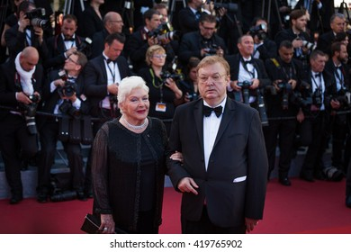 Cannes, France - 11 MAY 2016 - Line Renaud and Dominique Besnehard attend the screening of 'Cafe Society' at the opening gala of the annual 69th Cannes Film Festiva