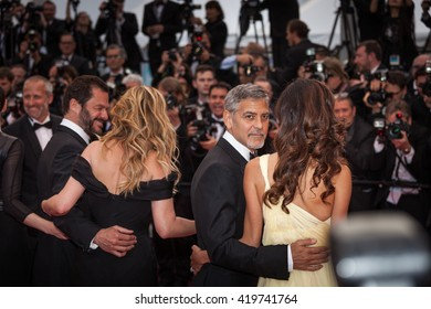 Cannes, France - 12 MAY 2016 - Actors Julia Roberts, George Clooney and his wife Amal Clooney attend the 'Money Monster' premiere during the 69th annual Cannes Film Festival