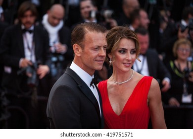 Cannes, France - 12 MAY 2016 - Rocco Siffredi and Rozsa Tassi attend the screening of 'Money Monster' at the annual 69th Cannes Film Festival