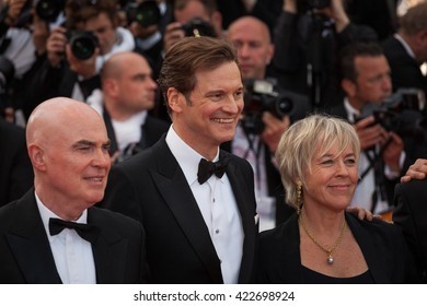 Cannes, France - 16 MAY 2016 - Producer Sarah Green and actor Colin Firth attend the 'Loving' premiere during the 69th annual Cannes Film Festival