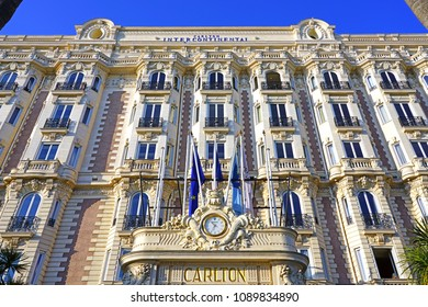 CANNES, FRANCE -20 APR 2018- View of the Carlton Intercontinental, a landmark historic hotel on the Boulevard de la Croisette in Cannes, home of a famous film festival.