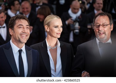 Cannes, France - 20 MAY 2016 - Actor Javier Bardem, actress Charlize Theron and Actor Jean Reno attend 'The Last Face' Premiere during the 69th annual Cannes Film Festival