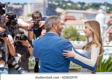 Cannes, France - 21 MAY 2016 - Erin Moriarty and Mel Gibson attend the 'Blood Father' Photocall during the 69th annual Cannes Film Festival
