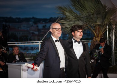 Cannes, France - 22 MAY 2016 -Juanjo Gimenez - Best Short Film for 'Timecode' and Joao Paulo Miranda Maria - Short Film Special Prize at the Palme D'Or Winner Photocall - 69 Cannes Film Festival