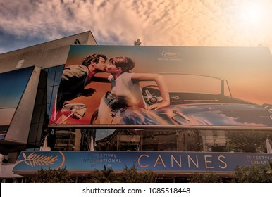 CANNES, FRANCE - 7 May 2018: Facade of the Palais des Festivals with the billboard of the 71 edition of the Cannes Film Festival