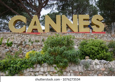 Cannes, France - April 03 2018: An illuminated sign sites outside Church of Our Lady of Esperance on top of a hill overlooking Cannes, France.