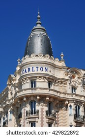 Cannes, France - april 15 2016 : facade of the Carlton hote on Croisettel