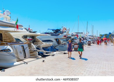 Cannes, France - August 05, 2016: harbor of Cannes with unidentified people. Cannes is a city at the French Riviera, known for its association with the rich and famous, and the Cannes Film Festival
