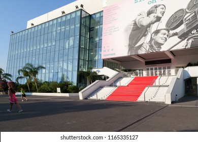 Cannes, France - August 19, 2018: Exterior view of Palais des Festivals in Cannes, France, the venue for the annual Cannes Film Festival and housing conferences throughout the year.