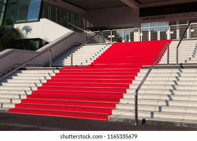 Cannes, France - August 19, 2018: Red carpet stairway at entrance of Palais des Festivals in Cannes, France, the venue for the annual Cannes Film Festival.
