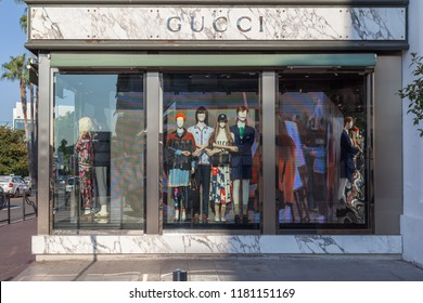 Cannes, France - August 19, 2018: Gucci store in Cannes, France. Gucci is an Italian luxury brand of fashion and leather goods.