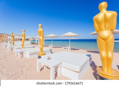 CANNES, FRANCE - August 7, 2020: luxury Beach of the Mediterranean Sea, Cote d'Azur. The french riviera. Cannes hosts the annual Cannes Film festival from 1949