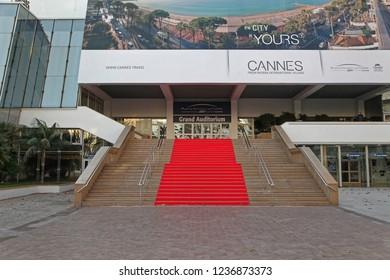 Cannes, France - January 20, 2012: Grand Auditorium Cannes Red Carpet Stairway at Palais des Festivals et des Congres in Cannes, France.