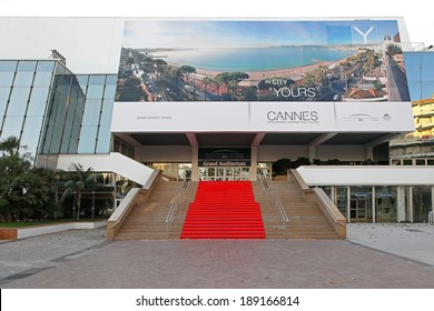 CANNES, FRANCE - JANUARY 20: Grand Auditorium Cannes on JANUARY 20, 2012. Red carpet stairway at Palais des Festivals et des Congres in Cannes, France.