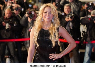 CANNES, FRANCE - JANUARY 22, 2011 - Shakira on the red carpet of NRJ Music Award 2011 during the Midem (music industry trade fair)