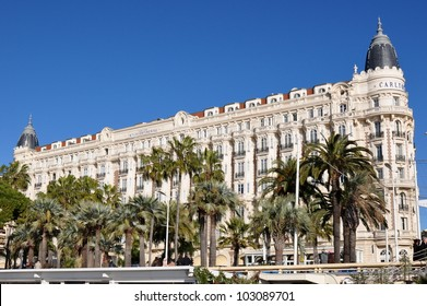 CANNES, FRANCE - JANUARY 6: Carlton Palace facade shown on January 6, 2012 in Cannes, France. Carlton hotel is a luxury hotel containing 343 rooms, located on the famous festival film town.