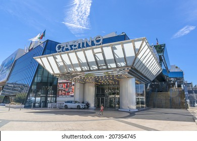 CANNES, FRANCE - JULY 10, 2014: Casino in Palace of Film in Cannes. Palace built in 1982, architects Bennett & Druet and constructed on the site of municipal Casino.