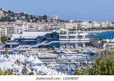 CANNES, FRANCE - JULY 22: Palais des Festivals on July 22, 2012 in Cannes, France. Palace of popular cinema festivals (1982, architects Bennett & Druet) was constructed on the site of municipal Casino