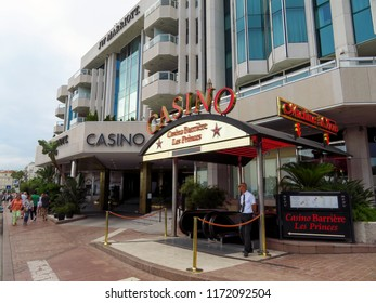 Cannes, France - July 3, 2018: Casino of Luxury hotel JW Marriott, located on the famous La Croisette boulevard. Built in 1990 under the name of JW Marriott Cannes.