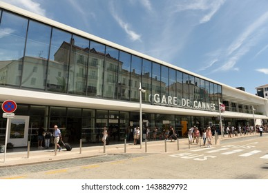 Cannes, France - June 21, 2019: People near the Gare de Cannes the main railway station.