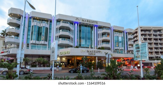 Cannes, France - June 27, 2018: Night view of Luxury hotel JW Marriott, located on the famous La Croisette boulevard. Built in 1990 under the name of JW Marriott Cannes.