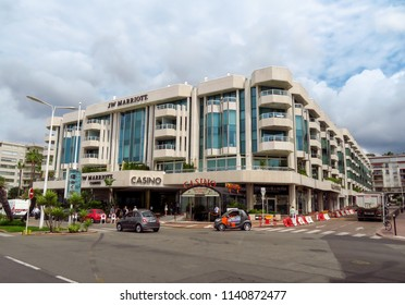 Cannes, France - June 28, 2018: Luxury hotel JW Marriott, located on the famous La Croisette boulevard. Built in 1990 under the name of JW Marriott Cannes.