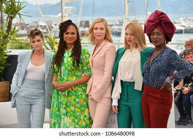 CANNES, FRANCE. May 08, 2018: Kristen Stewart, Ava Duvernay, Cate Blanchett, Blanchett, Lea Seydoux & Khadja Nin at the photocall for the Cannes Jury at the 71st Festival de Cannes