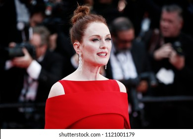 CANNES, FRANCE - MAY 08: Julianne Moore attends the screening of 'Everybody Knows' and the opening gala during the 71st Cannes Film Festival on May 8, 2018 in Cannes, France.