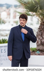 CANNES, FRANCE - MAY 09, 2018: Benicio Del Toro attends the Jury Un Certain Regard photocall during the 71st annual Cannes Film Festival