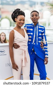 CANNES, FRANCE - MAY 09, 2018: Sheila Munyiva and Samantha Mugatsia attend the photocall for 'Rafiki' during the 71st annual Cannes Film Festival