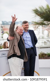 CANNES, FRANCE - MAY 09, 2018: Actor Boris Kamorzin and diirector Sergey Loznitsa attend the photocall for 'Donbass' during the 71st annual Cannes Film Festival